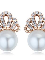 Stud Earrings Women's Girls' Earrings Set Korean Style Crown Rhinestone Pearl Elegant Luxury Delicate Friendship Party Daily Business Movie Jewelry