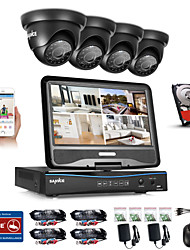 Sannce® 8ch 4pcs 720p weatherproof sistema di sicurezza 4in1 1080p lvr dvr supportato tvi analogico ahd ip fotocamera 1tb hd