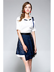 abordables -Mujer Sencillo Chic de Calle Noche Vacaciones Primavera Verano T-Shirt Falda Trajes,Escote Redondo Un Color Manga Corta Separado
