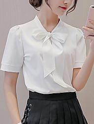 preiswerte -Damen Solide Einfach Alltag Bluse,V-Ausschnitt Kurzarm Polyester
