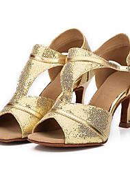 Não Personalizável Feminino Latina Salsa Dança de Salão Glitter Sandálias Fivela Com Glitter Salto Cubano Preto Prateado Azul Dourado7,5