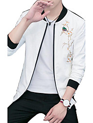 Men's Daily Casual Simple Pattern Nature Inspired Spring/Fall Jacket,Solid Embroidery Stand Long Sleeve Regular Cotton Blend