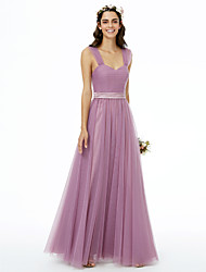 abordables -Corte en A Correas Hasta el Suelo Tul Vestido de Dama de Honor con Fajas Plisado Fruncido por LAN TING BRIDE®