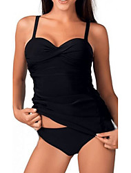 Women's Sporty Look Halter Tankini Solid Sport Solid