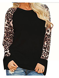 cheap -Women's Daily Casual T-shirt,Leopard Round Neck Short Sleeves Cotton