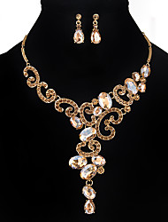 cheap -Women's Crystal Jewelry Set - Handmade Flower Gold White Black Jewelry Set For Wedding Party Special Occasion Anniversary