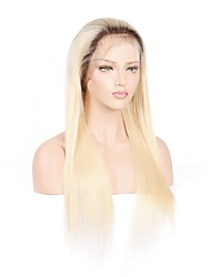 Blonde Full Lace Human Hair Wigs With Baby Hair Peruvian Straight Pre Plucked Remy Hair Wigs For Black Women  150%  Density