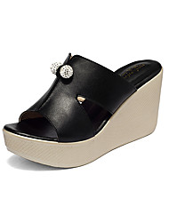 cheap -Women's Sandals Casual Leather Summer Daily Wedge Heel Green Ruby Black White 2in-2 3/4in