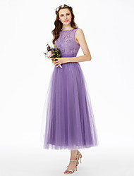 Princess Bateau Neck Tea Length Lace Tulle Bridesmaid Dress with Lace Sashes / Ribbons Pleats by LAN TING BRIDE®