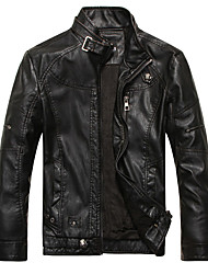 Men's Daily Vintage Winter Fall Leather Jacket,Solid Stand Long Sleeve Regular PU Fur Trim