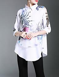 cheap -Women's Work Chinoiserie Shirt Print Shirt Collar