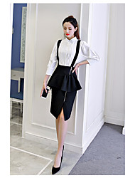 cheap -Women's Business Daily Active Spring Shirt Skirt Suits,Solid Stand Long Sleeve Fabric
