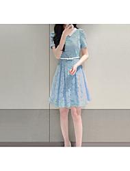 Ample Robe Femme Sortie Décontracté / Quotidien Couleur Pleine Col Rond Claudine Au dessus du genou Manches Courtes Polyester Eté Taille
