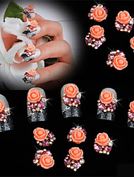 cheap -10 pcs Fat Flower Belt drill Flat Bottom DIY Nail Sticking Drill 3D Nail Decoration