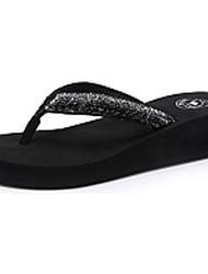 Camel Women's Flip Flop All-match Indoor Sandals Comfort Wedge Heel Shoes Color Black
