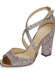 baratos -Feminino Sandálias Sapatos clube Gliter Courino Verão Casamento Social Festas & Noite Lantejoulas Presilha Salto Grosso Dourado Azul10 a