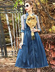 Largo Vestito Da donna-Feste Per uscire Casual Tinta unita Colletto alla coreana Medio Mezza manica Seta Cotone Altro Estate AutunnoA