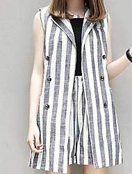 cheap -Women's Blazer Dress Hooded / Fine Stripe