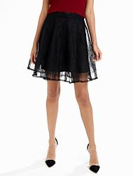preiswerte -Damen Einfach Niedlich Ausgehen Lässig/Alltäglich Mini Röcke Schaukel,Tüll einfarbig Sommer