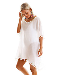 cheap -Women's Going out Beach Holiday Casual Tunic Dress,Solid Round Neck Above Knee Polyester Spandex Summer High Rise Inelastic Thin