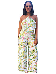 Women's Sexy Floral Halter Club Rustic Summer Sleeveless Backless Printing Tank Top Wide Leg Pant Suits