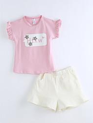 Dívčí Bavlna Jednobarevné Léto Soupravy,Krátký rukáv Sady oblečení