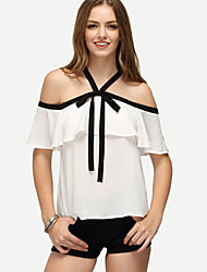 Women's Going out Beach Sexy Summer Blouse,Solid Off Shoulder Short Sleeve Polyester Medium