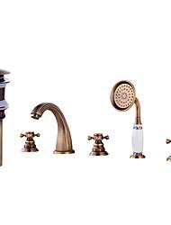 economico -Set di rubinetti - Separato Rame anticato A 3 fori Tre maniglie cinque fori