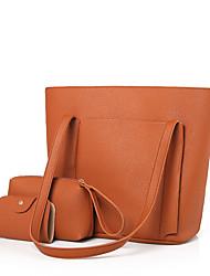 Bags PU 3 Pcs Purse Set for Black Red Blushing Pink Gray Brown