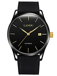 Per uomo Orologio alla moda orologio meccanico Carica automatica Calendario Resistente all'acqua Pelle Banda Nero