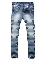 economico -Da uomo A vita medio-alta Casual Moda città Punk & Gotico strenchy Dritto Taglia piccola Jeans Pantaloni,Tinta unita Cotone Quattro