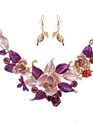 billige -Dame Smykkesæt - Bladformet, Blomst Mode, Euro-Amerikansk Omfatte Lilla / Blå Til Fest