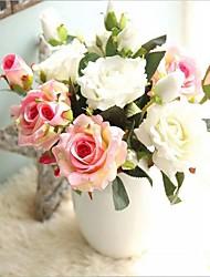 5 Pièces 5 Une succursale Soie Roses Fleur de Table Fleurs artificielles