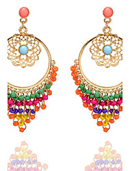 cheap -Bohemia Fashion Vintage Elegant Charm Hollow Carved Flower Earrings Colorful Beads Tassel Drop Earrings For Women Jewelry Accessories Gift