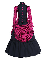 One-Piece/Dress Gothic Lolita Vintage Inspired Cosplay Lolita Dress Vintage Long Sleeve Lolita Top Petticoat For Satin Cotton