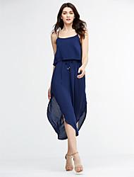abordables -Swing Robe Femme Décontracté / Quotidien Sexy,Couleur Pleine Col Arrondi Midi Sans Manches Bleu / Gris / Vert Coton Hiver Taille Normale