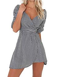 Feminino Bainha Vestido,Casual Trabalho Sensual Simples Sólido Decote V Assimétrico Manga Curta Poliéster Todas as Estações Cintura Baixa