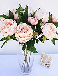 baratos -Flores artificiais 1 Ramo Estilo simples Peônias Flor de Mesa