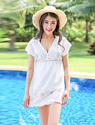 Women's Casual Homecoming Lawn Party/Cocktail Vacation Date Going out Casual/Daily Street Sexy Simple Cute A Line Loose Lace Dress,SolidV