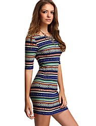 cheap -Women's Going out Beach Holiday Cute Casual Sexy Bodycon Sheath Dress,Striped Round Neck Mini Rayon Summer All Seasons Mid Rise Stretchy
