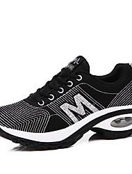 abordables -Femme Chaussures Tricot / Tulle Printemps / Eté Confort Basket Marche Talon Plat Bout rond Argent / Noir et Or