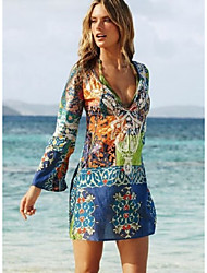 cheap -Women's Beach Vintage Loose Dress - Solid Color, Print Mini V Neck