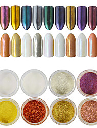 cheap -12pcs/set Acrylic Powder Nail Glitter Glitter Powder Mirror Effect Sparkle & Shine Nail Art Design