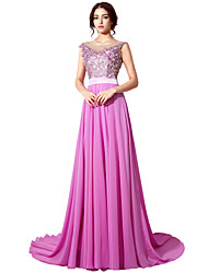 cheap -Ball Gown Illusion Neckline Court Train Chiffon Formal Evening Dress with Appliques Sash / Ribbon by Sarahbridal