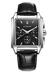 baratos -Homens Relógio Elegante Relógio de Moda Relógio de Pulso Chinês Quartzo Três Fusos Horários Couro Legitimo Banda Amuleto Legal Elegant