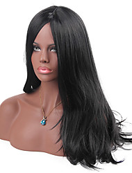 cheap -MAYSU Women Synthetic Wig Long Straight Dark Black With Bangs Natural Wigs Costume Wig