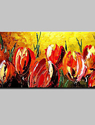 cheap -Hand Painted Red Flowers Oil Painting On Canvas Modern Abstract Wall Art Picture For Home Decoration Ready To Hang