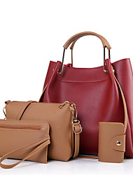 cheap -Women Bags PU Other Leather Type 4 Pieces Purse Set for Casual Winter Black Beige Wine Arm Green