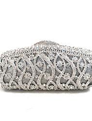 preiswerte -Damen Taschen PU Nylon Metall Abendtasche Kristall Verzierung für Winter Gold Silber