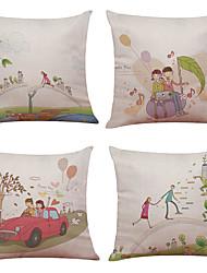 """baratos -Conjunto de 4 ilustração figura de casal estampa impressa almofadas decoração criativa (18 """"* 18"""")"""